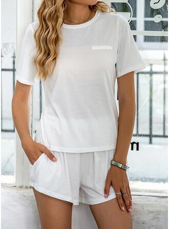 Polyester Grote maat Ronde Hals Korte Mouwen Pyjama Set