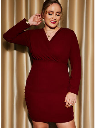 Solid Long Sleeves Sheath Above Knee Party/Plus Size Dresses