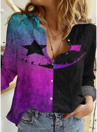 Halloween Print Color Block Lapel Long Sleeves Casual Blouses