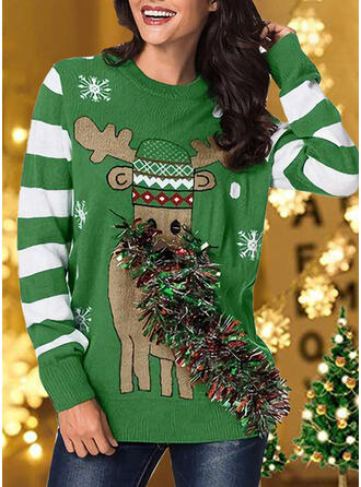 Women's Print Color Block Striped Reindeer Ugly Christmas Sweater
