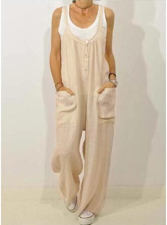 Solide Zakken Shirred Grote maat Lang Casual Elegant Lang Broeken