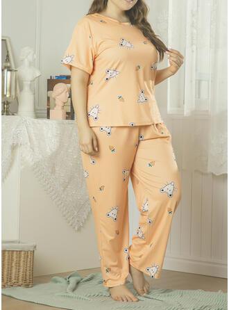 Polyester Print Grote maat Ronde Hals Korte Mouwen Pyjama Set