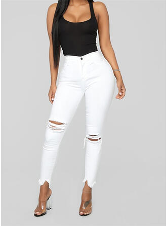 Solid Long Casual Ripped Pants