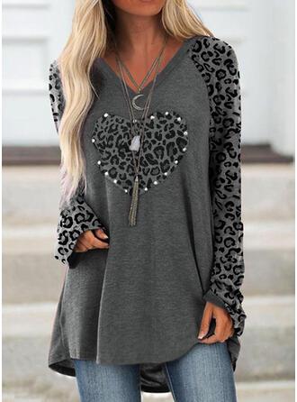Leopard Heart V-Neck Long Sleeves Sweatshirt