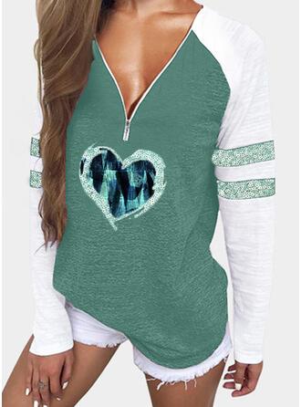 Print Color Block Heart Sequins V-Neck Long Sleeves Raglan Sleeve Casual Blouses