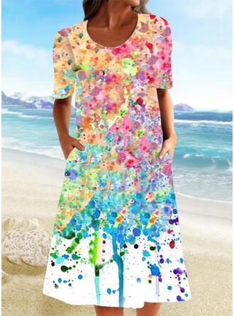 Print Short Sleeves Shift Casual/Vacation Midi Dresses