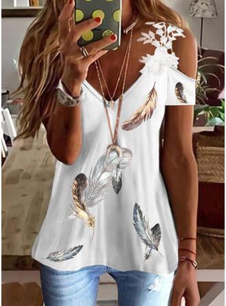 Print Lace Cold Shoulder Short Sleeves Elegant Blouses