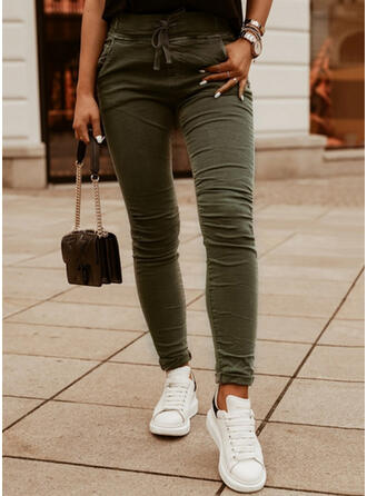 Solid Long Casual Plus Size Office/Business Drawstring Pants