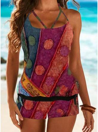 Floral Strap Plus Size Boho Tankinis Swimsuits