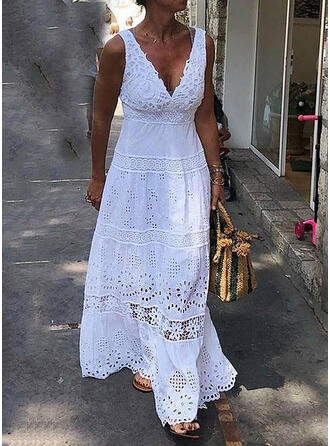 Lace/Solid Sleeveless A-line Skater Little Black/Casual/Vacation Maxi Dresses