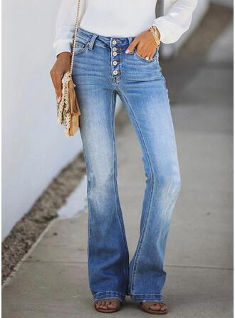 Solid Cotton Long Elegant Vintage Pocket Button Pants Denim & Jeans