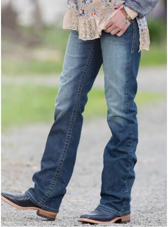 Shirred Grote maat Lang Casual Elegant Spijkerbroek