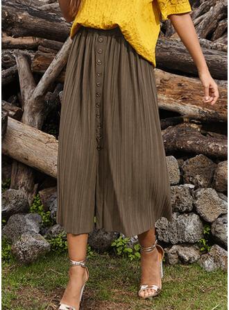 Chiffon Plain Mid-Calf A-Line Skirts