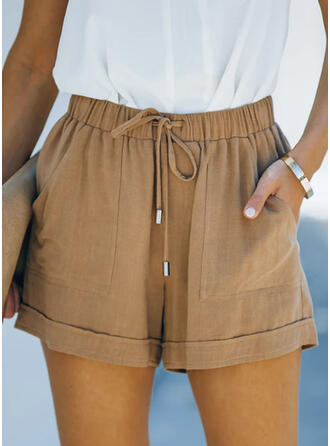 Solid Casual Vintage Shorts