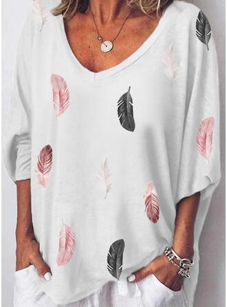 Print V-Neck 3/4 Sleeves T-shirts