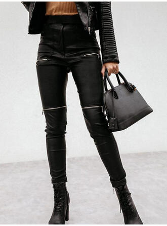 Solid PU Long Sexy Plus Size Pocket Pants