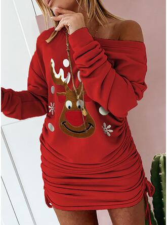 Dierenprint Lange Mouwen Bodycon Boven de knie Kerstmis/Casual Sweatshirts Jurken