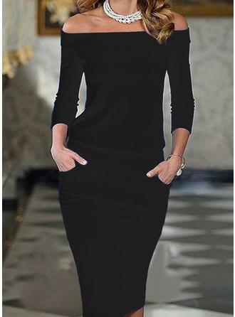 Solide 3/4 Mouwen Bodycon Knielengte Zwart jurkje/Elegant Potlood Jurken