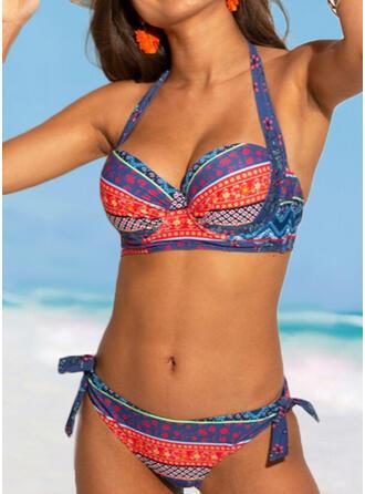 Splice color Hollow Out Halter V-Neck Sexy Boho Bikinis Swimsuits