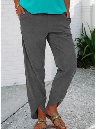 Solid Long Casual Vintage Plus Size Pocket Shirred Pants Lounge Pants