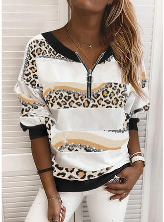 Print luipaard V-hals Lange Mouwen Sweatshirts