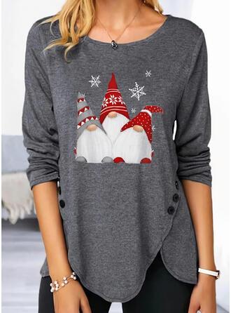 Print Ronde Hals Lange Mouwen Dichtknopen Casual Kerstmis Overhemd