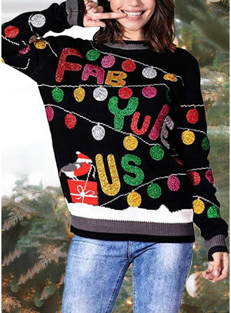 Women's Print Letter Ugly Christmas Sweater