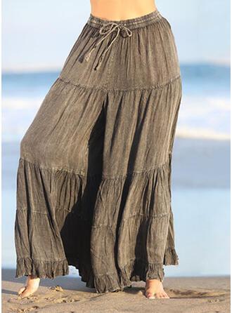 Lapwerk Shirred Grote maat Trekkoord Casual Elegant Wijnoogst Lounge broek