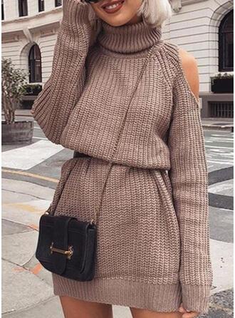 Solide Lange Mouwen/Cold Shoulder Mouw Koker Boven de knie Zwart jurkje/Casual Trui Jurken