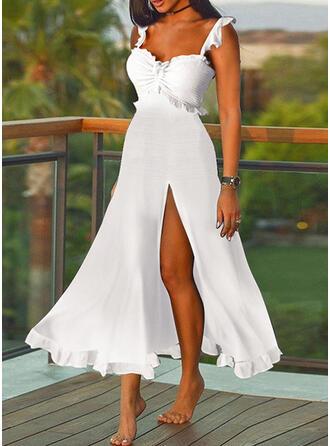 Solid Sleeveless A-line Slip/Skater Elegant Maxi Dresses
