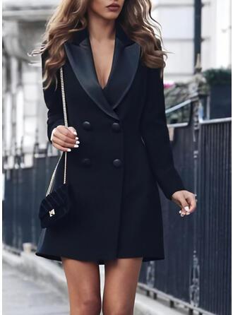 Solide Lange Mouwen Koker Boven de knie Zwart jurkje/Casual/Elegant Jurken