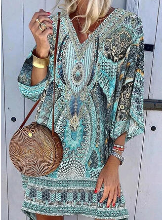 Print 3/4 Sleeves Shift Above Knee Casual/Boho/Vacation Tunic Dresses