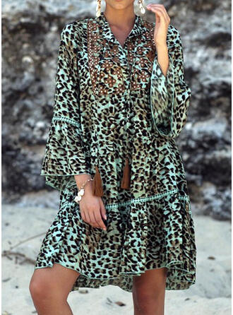 Leopard Long Sleeves/Flare Sleeves Shift Above Knee Casual Tunic Dresses