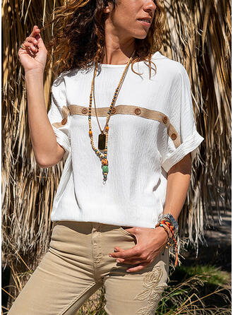 Solid Print Round Neck Short Sleeves Casual T-shirts