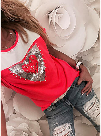 Beaded Color Block Heart Sequins Round Neck Short Sleeves T-shirts