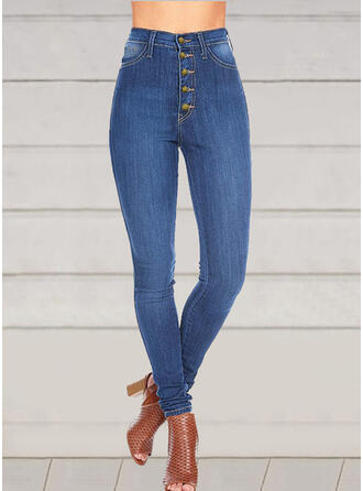 Solid Plus Size Sexy Skinny Vintage Denim & Jeans