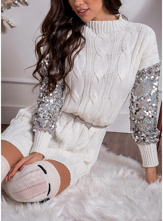 Solid Sequins Round Neck Casual Long Sweater Dress