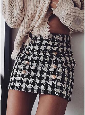 Cotton Blends Print Above Knee Pencil Skirts