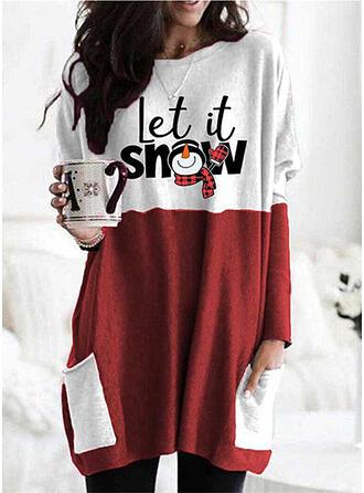 Print Grid Pockets Letter Round Neck Long Sleeves Christmas Sweatshirt