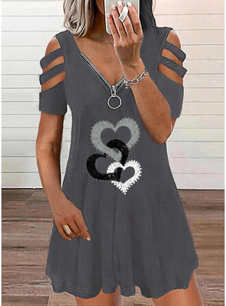 Print/Heart Short Sleeves Shift Above Knee Casual Tunic Dresses