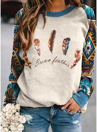 Print Figure Round Neck Long Sleeves Sweatshirt