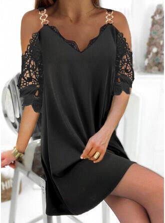 Lace/Solid 1/2 Sleeves Shift Above Knee Little Black/Elegant Dresses