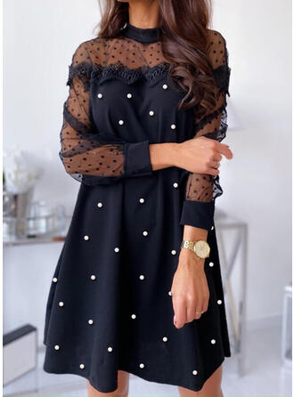 Lace/PolkaDot/Beaded Long Sleeves Shift Above Knee Little Black/Elegant Tunic Dresses