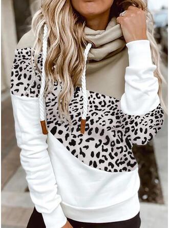 Print Color Block Leopard Long Sleeves Hoodie