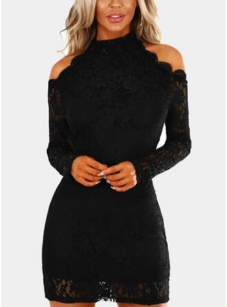 Kant/Solide Lange Mouwen/Cold Shoulder Mouw Bodycon Boven de knie Zwart jurkje/Feest Jurken