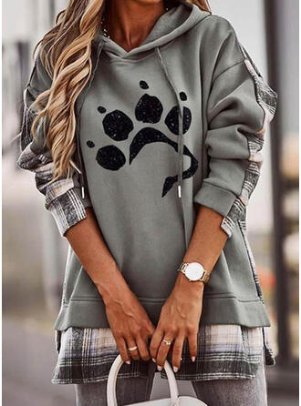 Animal Print Grid Long Sleeves Hoodie
