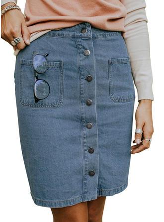 Denim Plain Knee Length Demin Skirts