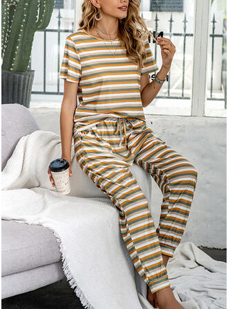 Polyester Streep Ronde Hals Korte Mouwen Pyjama Set