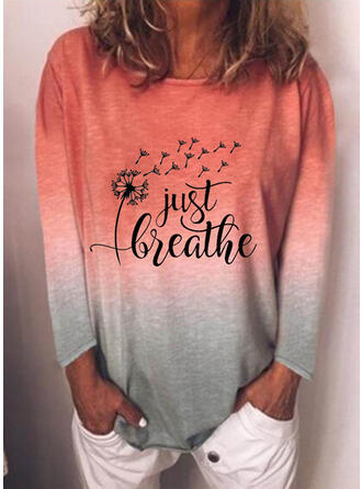 Print Dandelion Gradient Letter Round Neck Long Sleeves Sweatshirt