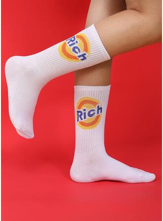 Solid Color/Letter Crew Socks Socks